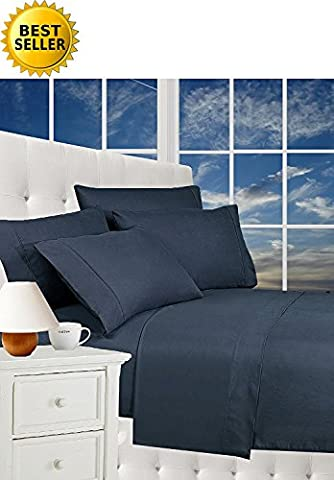 Best Seller Luxurious Bed Sheets Set on Amazon! Celine Linen 1800 Thread Count Egyptian Quality Wrinkle Free 5-Piece Sheet Set with Deep Pockets 100% HypoAllergenic, Split King Navy (Split King Sheet Deep Pocket)