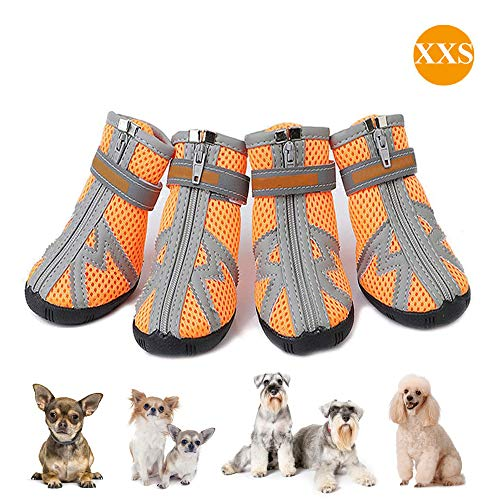 ASOCEA Pet Dog Breathable Mesh Sandals Shoes Paw Protector with Reflective Strip Anti-Slip Sole for Small Dogs - 4PCS Orange (XXS)