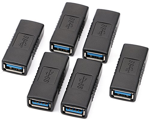 USB 3.0 Adapter- Pack of 6, Yeeco SuperSpeed USB 3.0 Coupler- Type A Female to Female Connector Converter Extend Adapter by Yeeco