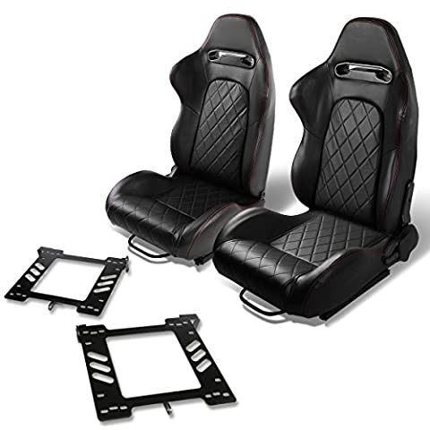 Pair of RS-018-BK PVC Leather Reclinable Racing Seat+Bracket for Vw Golf/Jetta/Beatle (Backwards Beatles)