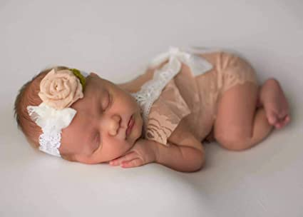 S-TROUBLE Baby Fotografie Requisiten Neugeborene Fotoshooting Stickerei Floral Lace Romper