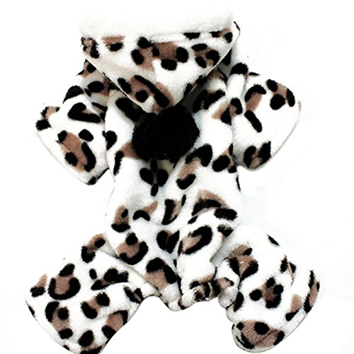PanDaDa Pet Dog Coral Fleece Leopard Jacket Dress Up Faux Fur Coat Puppy Hoodies