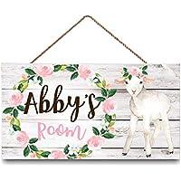 INNAPER Personalized Kids Baby Room Floral Lamb Door Sign Flowers Bedroom Nursery Wall Art Décor