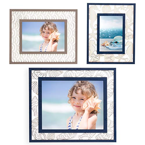 Decorative Picture Frames Set of 3 - Size 4x6, 5x7 & 8x10 - Blue Ocean & Beach Designs, Table Top & Wall Mount Photo Frames Sets for Gallery and Office - Home Wall Décor Picture Frame (Starfish Photo)