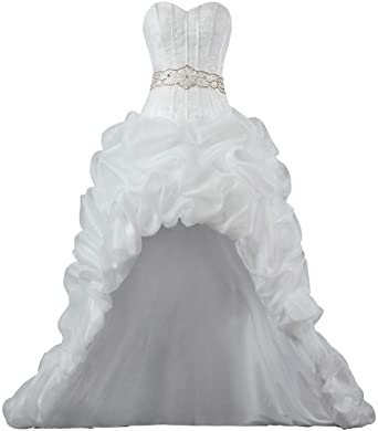9f0549f397 Unbranded  Women s Strapless Organza High Low Wedding Dresses for Bride at  Amazon Women s Clothing store