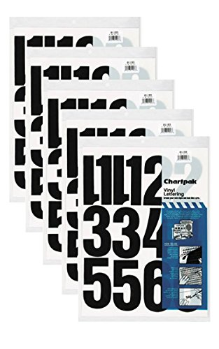 Chartpak 4-inch Black Stick-on Vinyl Numbers (01193), 5 PACKS
