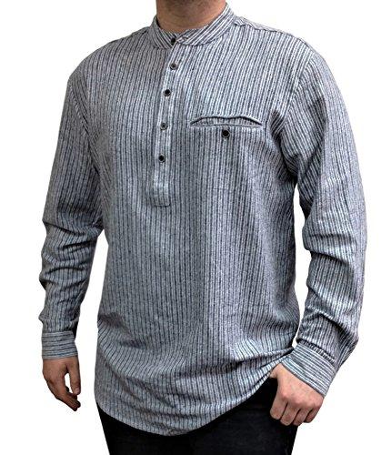 Lee Valley - Genuine Irish Striped Cotton Flannel Grandfather Shirt - Men's (Large, Grey)