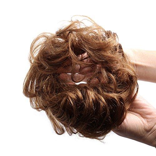 Bella Hair 100% Human Hair Scrunchie Bun Up Do Hair Pieces Wavy Curly or Messy Ponytail Extension (#4 Chocolate Brown/Dark Golden Brown)