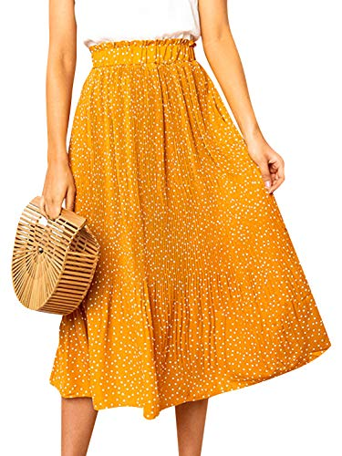 Fashiomo Women's High Waist Polka Dot Ruffle Midi Skirt Pleated Elastic Waist Skirt ()