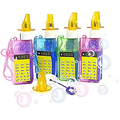 Dazzling Toys 6 Whistle Bubble Bottles Cellphone Whistle Bubbles on Necklace- 6 Pack: Toys & Games