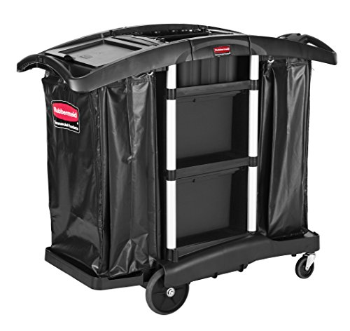Rubbermaid Commercial Products Executive Series Full Size Housekeeping Service Cart with Zippered Vinyl Bags (2 Shelves, 44-Inches x 51-3/4-Inches x 22-Inches), - Cart 2 Service Rubbermaid Shelf