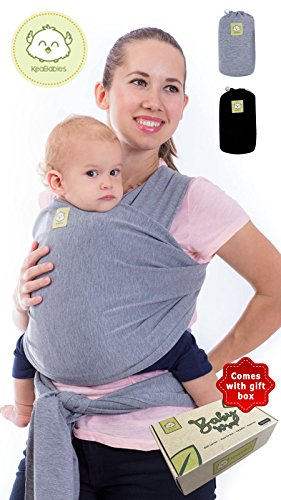 Baby Wrap – Baby Wrap Carrier by KeaBabies – 2 Colors – All-in-1 Baby Sling – Newborn Baby Wraps – Infant Carrier – Babys Wrap – Stretchy Babies Carrier Wrap | Great Baby Shower Gift (Grey)