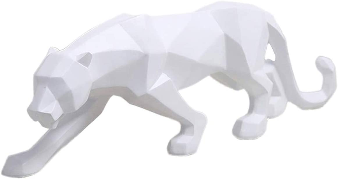 FJWYSANGU Abstract Leopard Statues Panther Sculpture Hand Craved Animal Resin Modern Home Decoration Small White