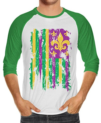 SpiritForged Apparel Distressed Mardi Gras American Flag Unisex 3/4 Raglan Shirt, Kelly/White Large