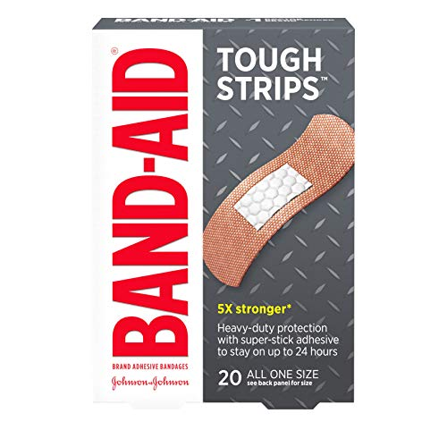 Band-Aid Brand Tough Strips Adhesive Bandage for Minor Cuts & Scrapes, All One Size, 20 ct - Sheer Band Strips Aid