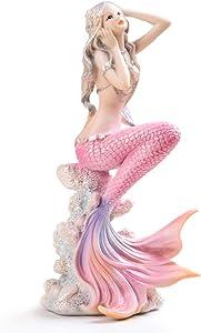 Mermaid Figurines Decor,Rayberro Handmade Beautiful 7.28