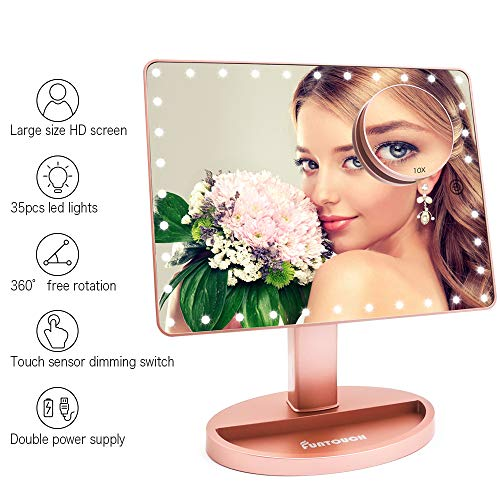 Large Lighted Vanity Makeup Mirror (X-Large Model), Funtouch Light Up Mirror with 35 LED Lights, Touch Screen and 10X Magnification Mirror, 360° Rotation Tabletop Cosmetic Mirror(Rose Gold)]()