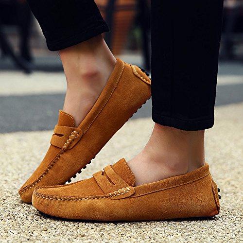 Icegrey Hommes Passant Conduite Chaussures Suède Flâneurs Brun Clair 45