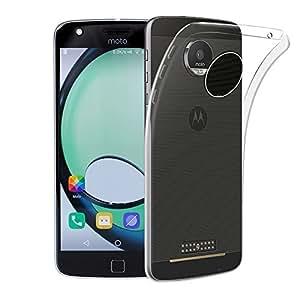 Motorola Moto Z Play Case, AVIDET Shock-Absorption, Anti-Scratch Soft Gel TPU Silicone Case Cover for Motorola Moto Z Play (Transparent)
