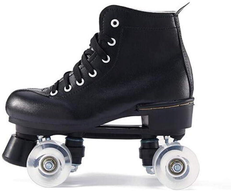 PHSDA Classic Roller Skates for Women PU Leather Premium Roller Skates Black Skates Shiny Four Wheels Roller Derby Skates for Kids and Adults