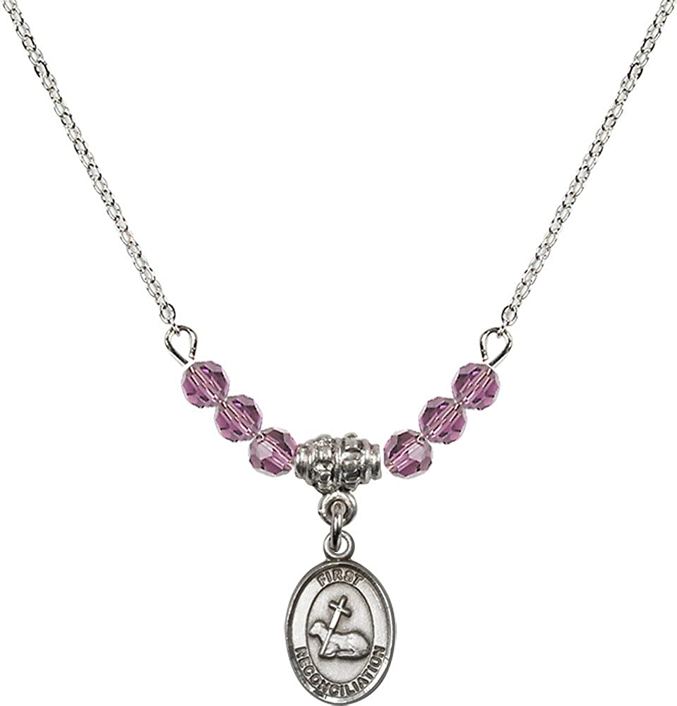 18-Inch Rhodium Plated Necklace with 4mm Light Amethyst Birthstone Beads and Sterling Silver First Reconciliation Charm.