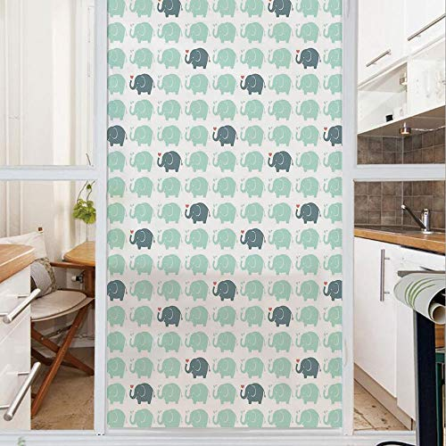 Decorative Window Film,No Glue Frosted Privacy Film,Stained Glass Door Film,Cute Elephants Blowing Water Drops and Tiny Hearts out of Trunks,for Home & Office,23.6In. by 35.4In White Almond Green Teal