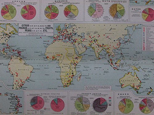 World global food production fruits apples bananas nuts 1925 commercial map