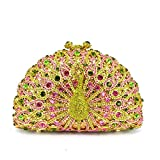 Luxury Crystal Dinner Peacock Diamond Party Purse Chain Handbag Wedding Bag