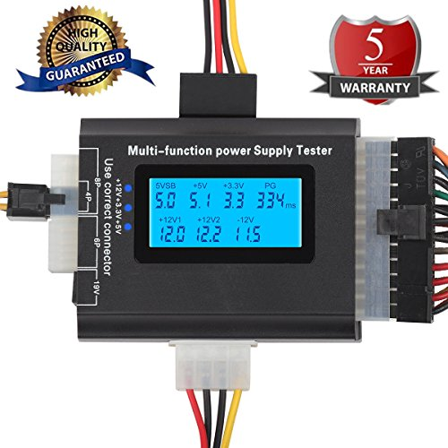 20/24 4/6/8 PIN Computer PC Laptop Power Supply Tester (5th Generation) for ATX, ITX, BTX, IDE,PCI-E HDD,SATA, BYI Connectors, 1.8'' LCD Screen