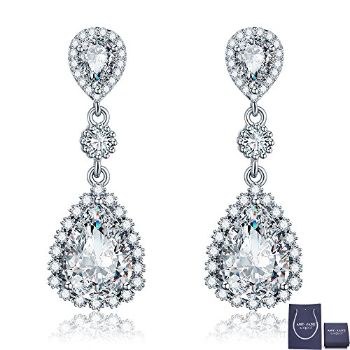 Wedding Bridal Rhinestone Long Drop (Womens Cubic Zirconia Dangle Earrings - Sterling Silver Bridal Long Teardrop Crystal Rhinestone Drop Earrings for Wedding Party Prom Bridal Jewelry for Bride Bridesmaid)
