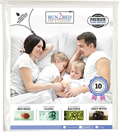 Luxury Turkish Cotton Pillow Protector %100 Waterproof, Hypoallergenic, Bed Bug & Dust Mite Proof, Secured Zippered Terry Cover Encasement - King size, 10 Year Warranty by RUN2BED - King Standard Vinyl