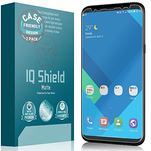 (Galaxy S8 Screen Protector (Not Glass), IQ Shield Matte Full Coverage Anti-Glare Screen Protector for Samsung Galaxy S8 (2-Pack,Case Friendly) Bubble-Free Film)