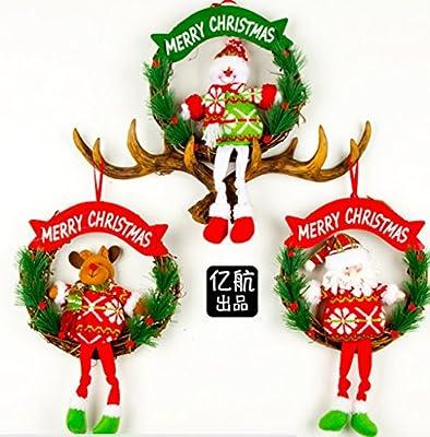 Pack de 3 pintado de Papá Noel árbol de Navidad adornos para ...