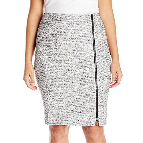 Kasper Women's Plus Size Tweed Skirt with Zipper, Grey Frost Multi, 16W