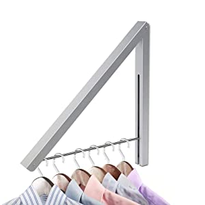 Yillsen Folding Wall Mounted Retractable Clothes Hanger, Aluminum Folding Drying Coat Racks Home Storage Organiser Space Saver for Laundry Room - Silver