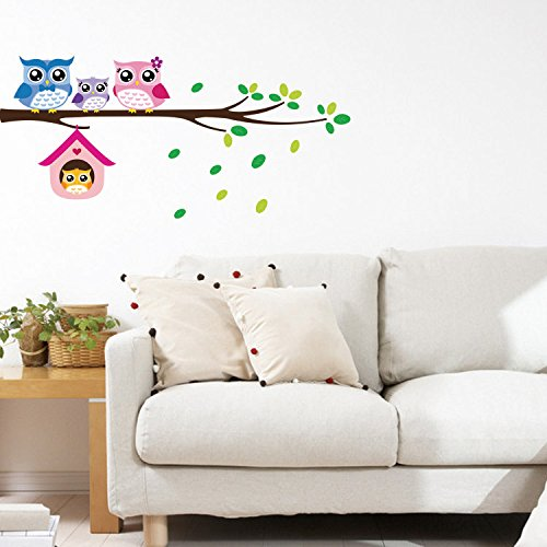 Ayutthaya shop DIY removable Owl Birds Branch Vinyl Kids Home Decor Mural Wall Stickers Decal Branches four owl wall stickers