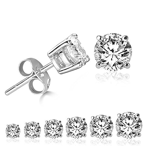 LIEBLICH Womens Round Cut Cubic Zirconia Stainless Steel Earrings Studs Plated White Gold, 3 mm - 8 mm, 6 Piece
