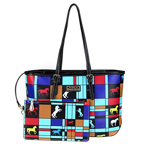 The Trail of Painted Ponies Collection Handbag Tote and Wristlet (Turquoise)