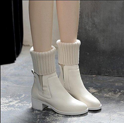 Weiße Stiefel KHSKX Mädchen Das Mit Wolle Herbst Mädchen Samt 40 Rough Und Neue Dem Schuhe Baumwolle Lauf Kunstleder Schuhe Winter Plus Stiefel YwBtw