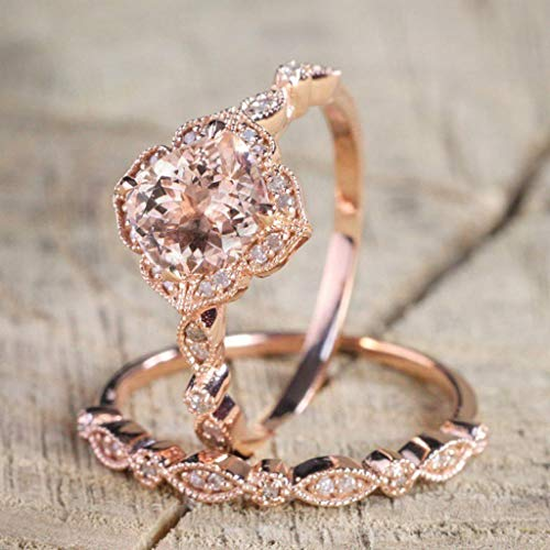 Haluoo Wedding Ring for Women, 2-in-1 Womens Rose Gold Filled Engagement Flower and Leaf Shape Ring Infinity Cubic Zirconia Bridal Set (8, Rose Gold)