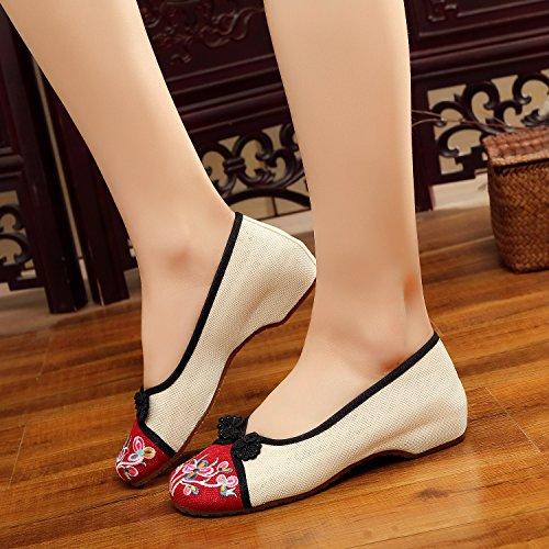 White Stile Scarpa Casual Ricamato Estate Ricamo Balletto Sandali Donna Ballerine Xyjher Scarpe Comodi Crafts Da Cinese 4qSRn