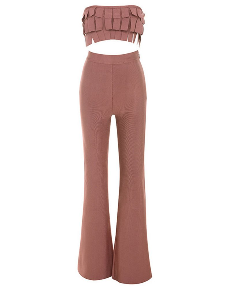 Whoinshop Women's Bandeaun Top and Wide Leg Two Piece Club Bandage Jumpsuit Romper Rose Pink S