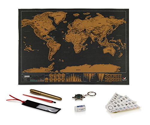 """Logrand Deluxe Scratch Off Map with 7 FREE Accessories + EBook 