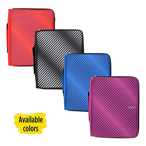 Five Star Zipper Binder, 2 Inch 3 Ring Binder, 6-Pocket Expanding File, Durable, Color Selected for You, 1 Count (29592)