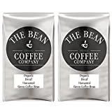 The Bean Coffee Company Organic Unroasted Green Coffee Beans, Decaf, 16-Ounce Bags (Pack of 2)