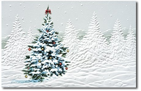 Birchcraft Studios 8594 Country Christmas Tree - Red Lined Envelope with White Lining - Red Ink - Pack of 25 ()