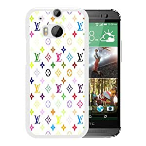 Louis-Vuitton-Patterns-On-White-Background White Personalized Recommended Custom HTC ONE M8 Phone Case