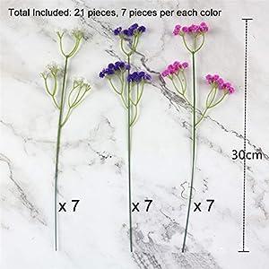 lasenersm 21 Pieces Artificial Baby's Breath Artificial Gypsophila Flowers Artificial Flowers DIY Home Garden Wedding Decoration White Pink Purple 3