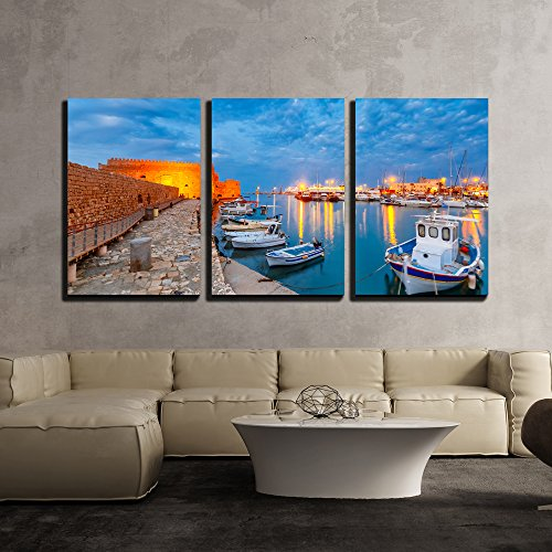 wall26 - 3 Piece Canvas Wall Art - Old Harbour of Heraklion with Venetian Koules Fortress, Boats During Blue Hour - Modern Home Decor Stretched and Framed Ready to Hang - 24