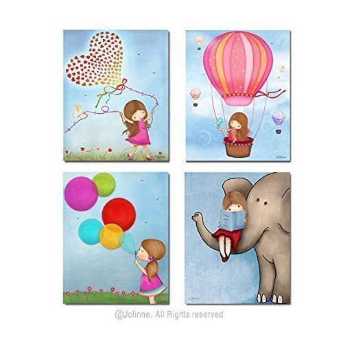 Art Prints for Girls Room Custom Hair and Skin Color Nursery Decor Unframed Wall Posters Set of 4 Images Sky Background 8x10 / 11x14 Inches